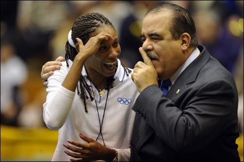 Cuban former great Yumilka Ruiz talks to Cristobal Marte Hoffiz, First Executive Vice President of FIVB