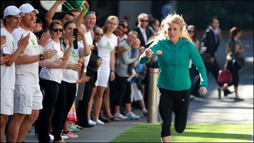 Olympic hurdler Sally Pearson steadies the nerves during her world record attempt for egg-and-spoon racing. Picture: John Grainger Source: News Limited