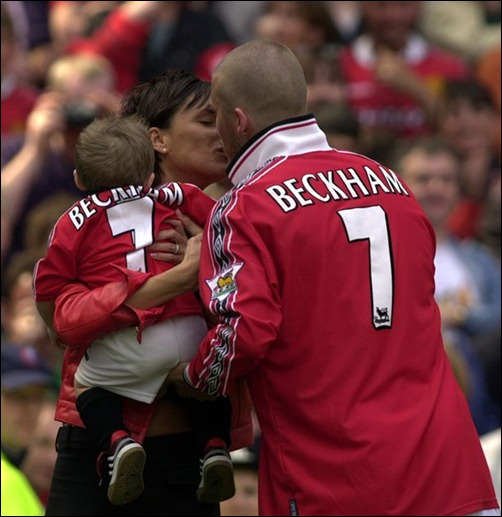 A kiss for David Beckham from wife Victoria Beckham May 2000 at the Manchester United v Tottenham Hotspur match-815303