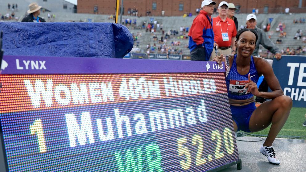 Muhammad quiebra el récord del mundo de 400m con vallas en un Campeonato Nacional de resultados violentos